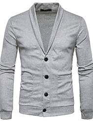 cheap -Men's Long Sleeves Cardigan - Solid Colored