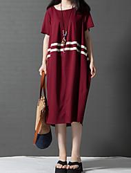 Women's Plus Size Vintage Loose Dress,Color Block Round Neck Midi Short Sleeves Linen Fall High Rise Inelastic Medium