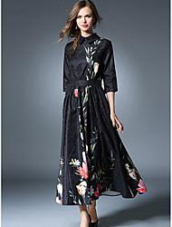 Недорогие -Жен. Оболочка С летящей юбкой Платье - Вышивка Рубашечный воротник Макси
