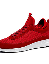 Men's Shoes Knit PU Fall Winter Comfort Athletic Shoes Walking Shoes Lace-up For Athletic Casual Red Gray Black