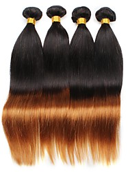 Virgin Brazilian Ombre Hair Weaves Straight Hair Extensions Four-piece Suit Black/Medium Auburn