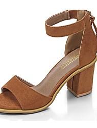 abordables -Femme Chaussures Gomme Eté Confort Sandales Talon Bottier Bout ouvert Ruban pour De plein air Noir Brun Foncé