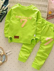 Недорогие -Дети (1-4 лет) Мальчики другое Длинный рукав Обычный Обычная Хлопок Набор одежды Зеленый