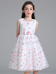 cheap -Ball Gown Princess Knee Length Flower Girl Dress - Organza Jewel Neck by Bflower