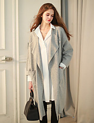 Women's Holiday Casual/Daily Street chic Fall Winter Trench Coat,Solid Cowl Long Sleeve Long Cotton Acrylic