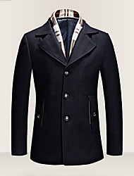 Men's Plus Size Casual/Daily Vintage Punk & Gothic Fall Winter Coat,Solid Shirt Collar Long Sleeve Regular Wool