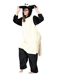 Недорогие -Пижамы кигуруми Овечья шерсть Комбинезон-пижама Пижамы Костюм Фланель Флис Бежевый Косплей Для Взрослые Нижнее и ночное белье животных