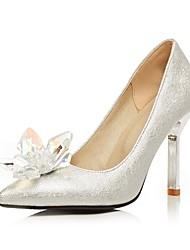 Women's Heels Basic Pump Spring Fall Customized Materials Wedding Party & Evening Rhinestone Stiletto Heel Sliver 4in-4 3/4in