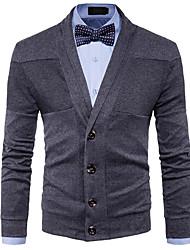 Standard Cardigan Da uomo-Per uscire Casual Semplice Romantico Tinta unita Monocolore A V Manica lunga Cotone Rayon Autunno Inverno Medio
