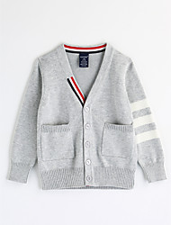 cheap -Boys' Solid Stripe Blouse, Cotton Fall Long Sleeves Blue Red Gray Yellow