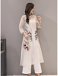 Women's Going out Casual/Daily Cute Summer Blouse Pant Suits,Print Stand Long Sleeve