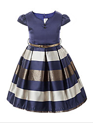 cheap -Girl's Daily Solid Dress,Cotton Polyester Spring Fall Short Sleeve Stripes Navy Blue Wine