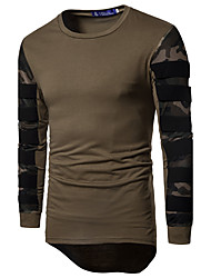 cheap -Men's Daily Sports Casual Active T-shirt,Camouflage Round Neck Long Sleeves Cotton