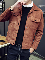 Men's Going out Casual/Daily Simple Spring Fall Jacket,Solid Notch Lapel Long Sleeve Short Polyester