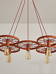 cheap -Four Heads Macaron Orange Color Vehicle Wheel Pendant Lamp for the Living Room / Bedroom /Canteen Room Decorate Creative Drop Light
