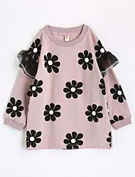 baratos -Para Meninas Camiseta Flor Outono Algodão Manga Longa Rosa