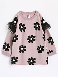 abordables -Camiseta Chica Flor Algodón Mangas largas Otoño Rosa