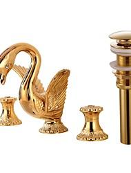 Widespread Widespread Ceramic Valve Single Handle Three Holes Gold , Bathroom Sink Faucet