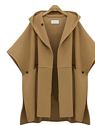 cheap -Women's Going out Holiday Street chic Trench Coat - Solid Colored
