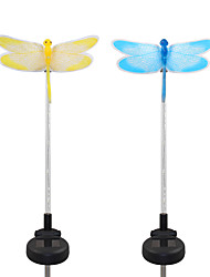 2PCS Solar Fiber Optic White/Color-Changing Garden Stake Light-Dragonfly
