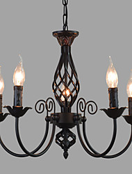 cheap -Europe Type Restoring Ancient Ways Wrought Iron Lamps And Lanterns Of The Mediterranean 6 Head Sitting Room Chandelier Candle Lights American Pastora