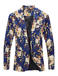 cheap -Men's Casual/Daily Work Casual Vintage Spring Fall BlazerPrint Notch Lapel Long Sleeve Regular Cotton