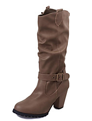 Women's Boots Comfort Fashion Boots Fall Winter Leatherette Casual Dress Buckle Chunky Heel Khaki Black 3in-3 3/4in