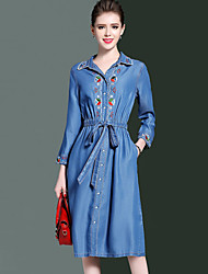 cheap -YHSP Women's Daily Going out Casual Street chic Sophisticated A Line Sheath Denim Dress,Embroidered Shirt Collar Knee-length Long Sleeves