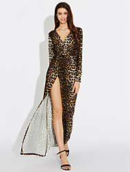 cheap -Women's Swing Dress - Leopard, Split Maxi Deep V
