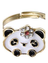 Недорогие -Жен. обожаемый Сплав Панда манжета кольцо - Круглый Животный дизайн Черный Кольцо Назначение Новый год / Свидание