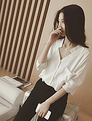 Women's Casual/Daily Simple Spring Blouse,Solid V Neck Long Sleeves Acrylic Medium