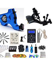 cheap -Tattoo Machine Starter Kit 2 rotary machine liner & shader LCD power supply 2 x aluminum grip 4 x disposable grip 50 pcs Tattoo Needles