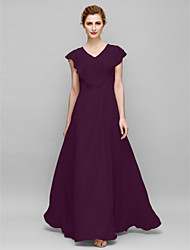 cheap -Sheath / Column V Neck Floor Length Chiffon Mother of the Bride Dress with Appliques Criss Cross by LAN TING BRIDE®