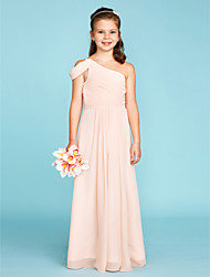 cheap -A-Line / Princess One Shoulder Floor Length Chiffon Junior Bridesmaid Dress with Sash / Ribbon / Side Draping by LAN TING BRIDE® / Wedding Party / Open Back