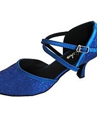 Feminino Moderna Cetim Gliter Sandália Interior Salto Personalizado Preto Vermelho Verde Azul marinho