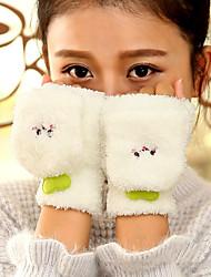 Недорогие -Для женщин Аксессуары На каждый день Мультяшная тематика Зимние перчатки Сохраняет тепло Милый Мода До запястья Полупальцами,Осень Зима