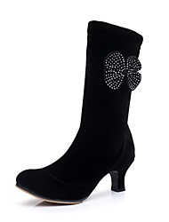 "Women's Dance Boots Velvet Boot Outdoor Rhinestone Chunky Heel Black 2"" - 2 3/4"""