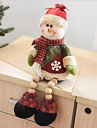 40Cm Sitting Old Man Snowman Wood Beads Plush Christmas Dolls Desktop Ornaments Christmas Decorations