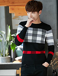 cheap -Men's Daily Regular Pullover,Print Round Neck Long Sleeves Others Winter Fall Medium Micro-elastic