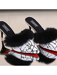 Femme Chaussures Polyuréthane Automne Confort Sabot & Mules Talon Aiguille Bout pointu Plume Pour Décontracté Blanc Noir Rouge