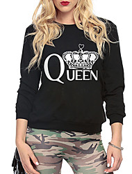 Women's Sports Going out Casual/Daily Simple Active Regular Pullover,Solid Print Round Neck Long Sleeves Others Spring Fall Medium