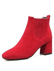 Feminino Sapatos Pele Nobuck Outono Inverno Conforto Botas Salto Grosso Ponta quadrada Para Preto Cinzento Vermelho