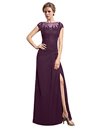 cheap -Sheath / Column Jewel Neck Floor Length Chiffon Beaded Lace Mother of the Bride Dress with Appliques by LAN TING BRIDE®