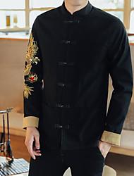 Men's Going out Street chic Fall Jacket,Print Shirt Collar Long Sleeve Regular Cotton