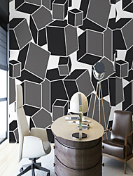 cheap -3D Special Design Geometry Home Decoration Simple Style Modern/Contemporary Wall Covering, Canvas Material Adhesive required Mural, Room