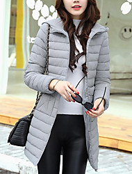 cheap -Women's Regular Down Coat,Street chic Daily Going out Solid-Cotton Polypropylene Long Sleeves