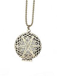 cheap -Women's Locket Circle Shape Metallic Pendant Necklace Alloy Pendant Necklace Party Halloween