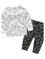 Baby Unisex Cotton Indoor Daily Print Clothing Set Autumn/Fall