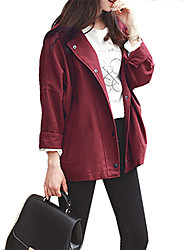 Women's Casual/Daily Vintage Spring Fall Jacket,Solid Notch Lapel Long Sleeve Regular Polyester