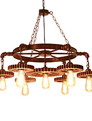 cheap -Vintage Wood Gear Pendant Lights Loft Creative Industrial Lamp American Style For Living Room Restaurant Bars Clothing Store decoration Light Fixture